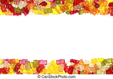 Gummy Bears Frame - Collection of delicious colorful gummy...