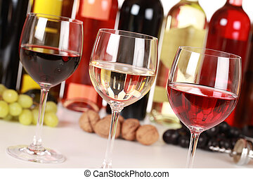 Different wines - Collection of three different wines in...