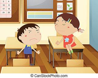Classroom - Illustration of kids in a classroom