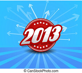 2013 label on blue background with arrows.