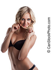 sexy young woman portrait play with hairs - sexy young blond...