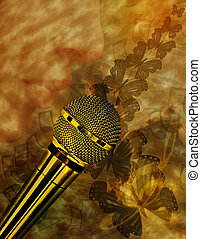 Vintage music background with microphone, lips, notes and...