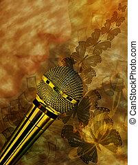 Årgång, mikrofon, musik, bakgrund