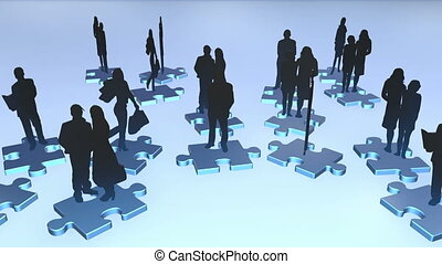 Business people on puzzle
