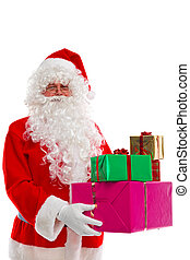 Santa Claus holding presents.