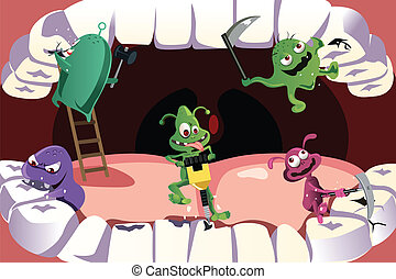 Teeth cavity - A vector illustration of germs attacking...