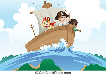 Pirates kids - A vector illustration of kids dressed in...