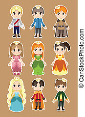 Prince and princess characters - A vector illustration of...