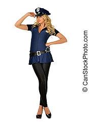 Beautiful blonde woman in mascarade costume of policeman.