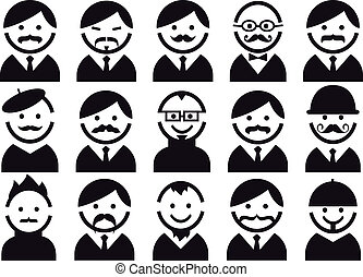 heads with mustaches, vector set - Male heads with...