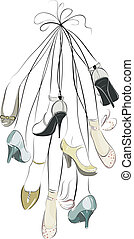 Shoes and legs hanging in a bunch