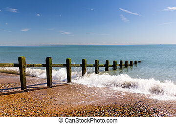 Pevensey Bay - Waves on the beach at Pevensey Bay East...