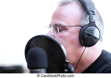 Radio host with head phones - Radio DJ host with head phones...