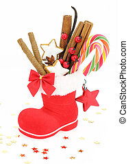 Sweet Christmas Santa Claus boot stuffed with candies
