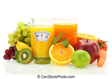 Diet and healthy eating Fruits, vegetables and juice on...