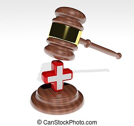 3d Judges gavel with health cross