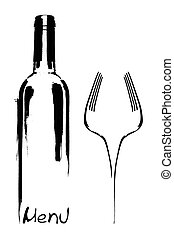 ristorante, menu, disegno