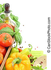 Fresh vegetables on white background with copy space