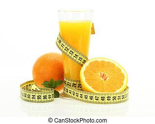 Orange juice with measure tape