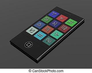 3D, touchscreen, mobile, téléphone, zodiaque,...