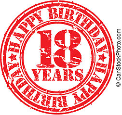 Grunge 18 years happy birthday rubber stamp, vector