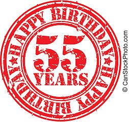 Grunge 55 years happy birthday rubb