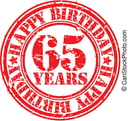 Grunge 65 years happy birthday rubber stamp, vector