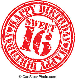 Grunge happy birthday sweet 16 rubber stamp, vector