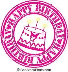Grunge happy birthday rubber stamp, vector