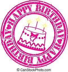 Grunge happy birthday rubber stamp,