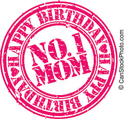 Grunge happy birthday mom, vector