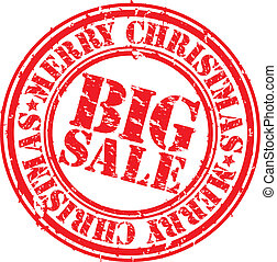 Grunge merry christmas big sale rubber stamp, vector