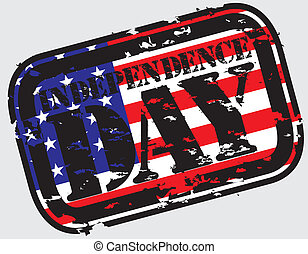 Grunge the 4th of july Independence Day in USA rubber stamp,...