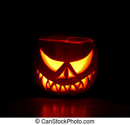 Scary Haloween Pumpkin - Pumpkin carved into spooky demon...