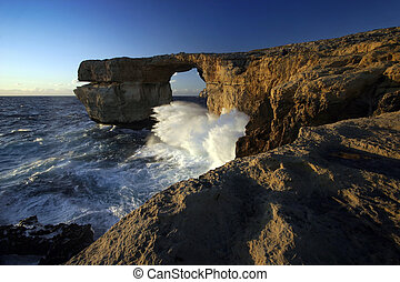 "Azure Window, Gozo, Malta - Waves crashing into \""Azure..."