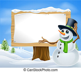 Christmas Snowman Sign - A cute cartoon snowman in Christmas...
