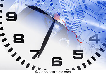 Clock and Printed Circuit - Composite of Clock and Printed...