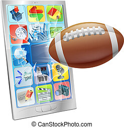 American football ball mobile phone - Illustration of an...