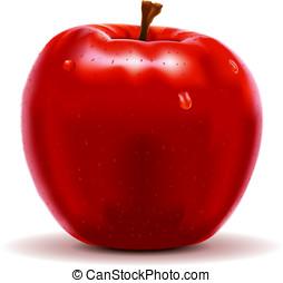 czerwony, Jabłko, odizolowany, biały