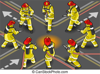 isometric firefighter extinguisher in eight positions -...