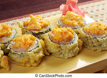 Japanese fried tempura sushi traditional japanese food