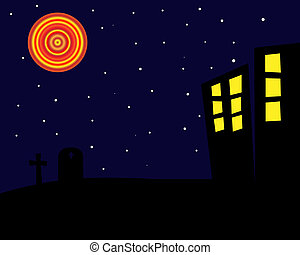 Halloween Night Background - Graphic illustration of a...