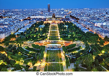 Paris from the Eiffel Tower. - Night view of Paris from the...