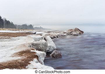 Snow Shore at Lake Superior - Snow Shore at Minnesota Point,...