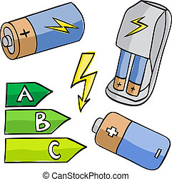 Illustration of batteries and energetic classes isolated on...