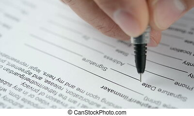 Signing a contract. Close view. HD