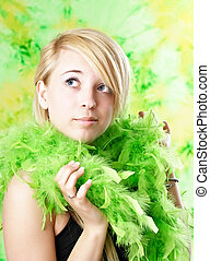 teen with feather boa - blond teen girl with green feather...