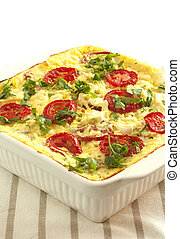 vegetable casserole of  cabbage ,cheese and  tomatoes