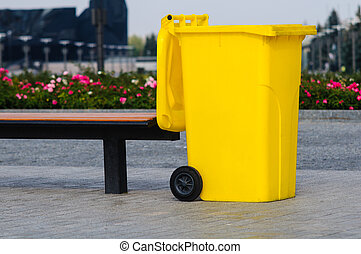 Yellow recycling container - Big yellow recycling container...