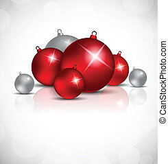 Xmas background with red and silver balls Festive invitation...